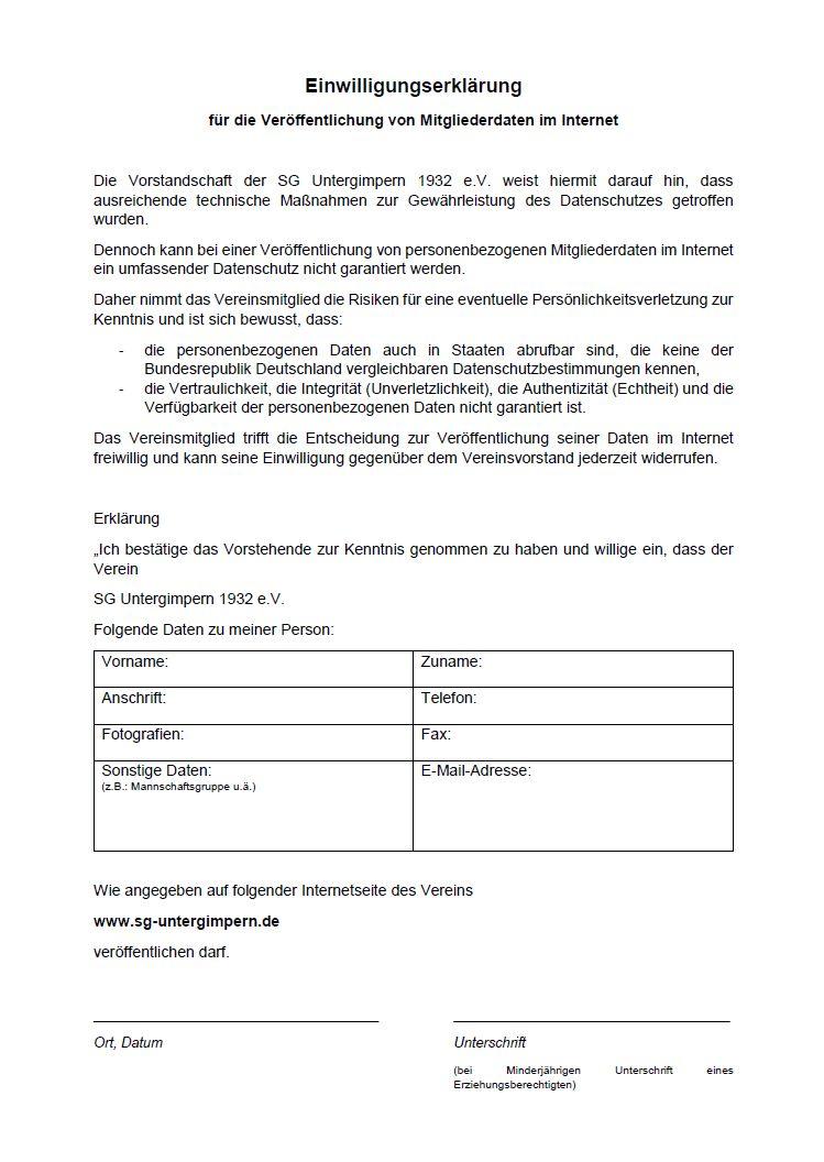 Einwilligungserklärung Datenschutz